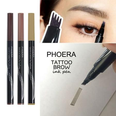 TekDeals PHOERA 4 Tip Head Eyebrow Tattoo Fork Pen Microblading Brow Enhancer Waterproof, (Best Eyebrow Tattoo Nyc)