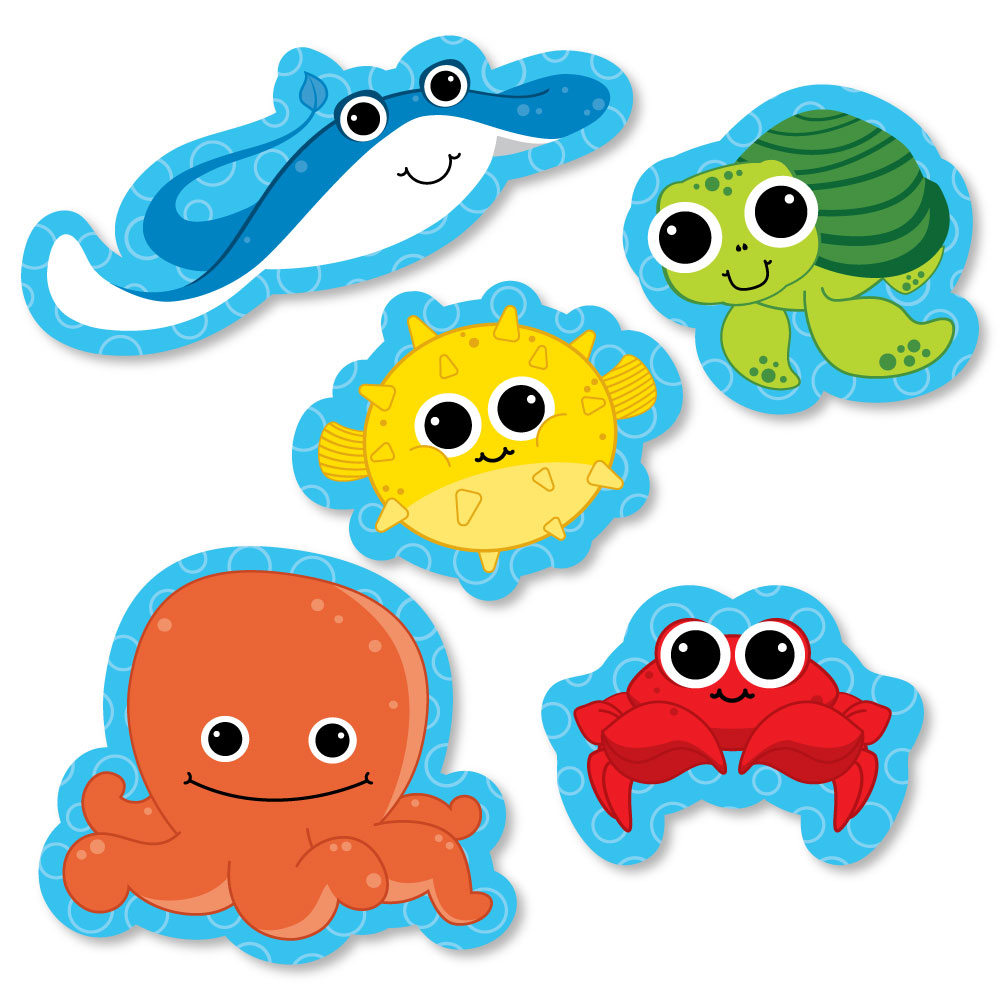 Under The Sea Critters - DIY Shaped Baby Shower or Birthday Party Cut-Outs - 24 Count