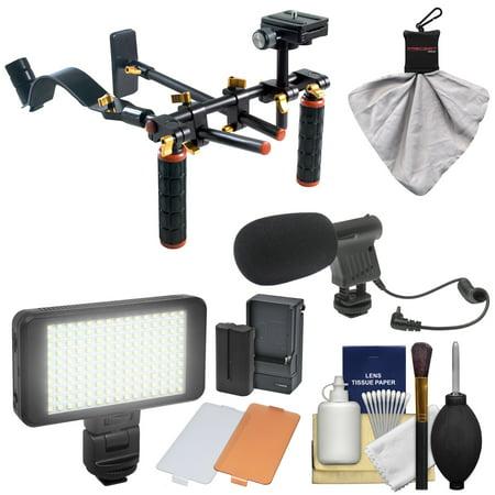 DLC V2 HD-DSLR Camera Video Rig Shoulder Brace Stabilizer with LED Video Light & Microphone + Kit