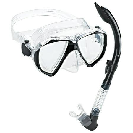 Phantom Aquatics Velocity Scuba Snorkeling Mask Snorkel Set, Black