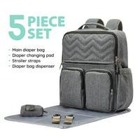 SoHo Backpack Diaper Bag, NY Chevron, Gray, 5 Piece Set