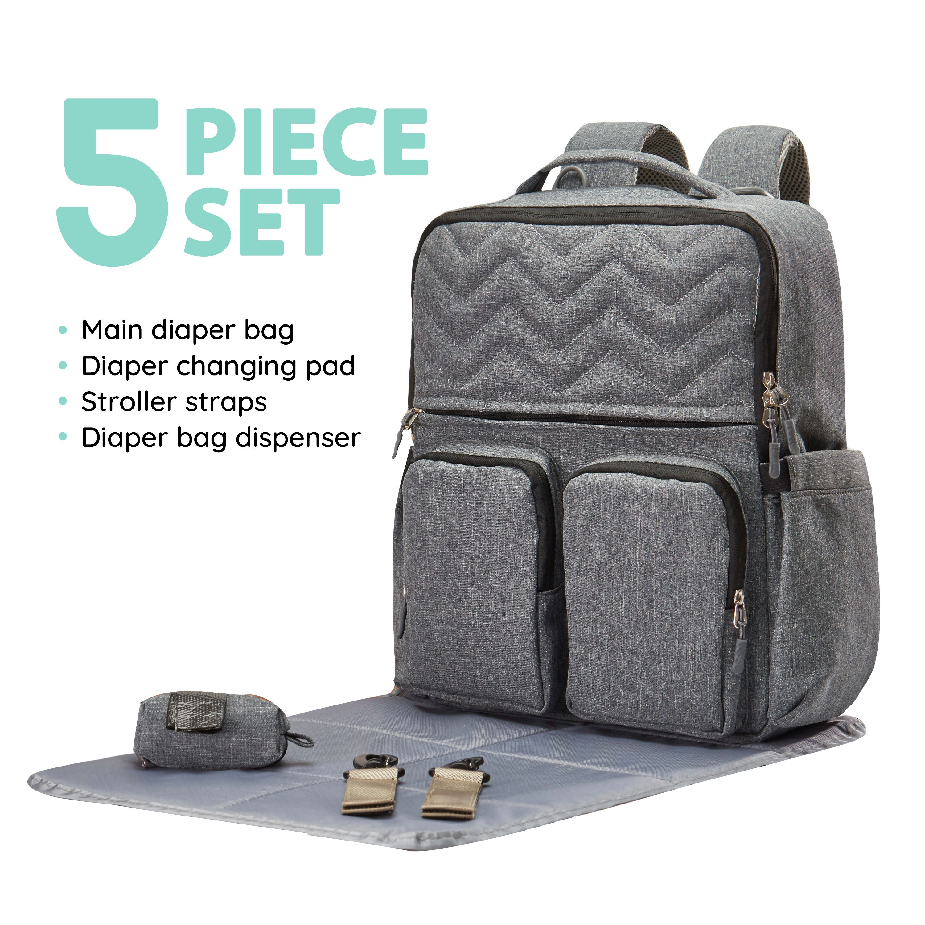 SoHo diaper bag backpack New York Chevron 5pcs set nappy tote bag for baby mom dad stylish insulated unisex multifuncation waterproof large capacity durable includes changing pad stroller straps Gray