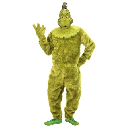 Jack In The Box Head Halloween Costume (The Grinch Deluxe Adult Jumpsuit Halloween)
