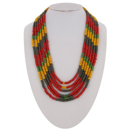 Plastic Rosary Necklace (Red Green Yellow Gray Plastic Multi Strand Layered Beaded Necklace)