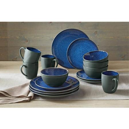 Better Homes & Gardens Blue Dinnerware Set, 16 Piece