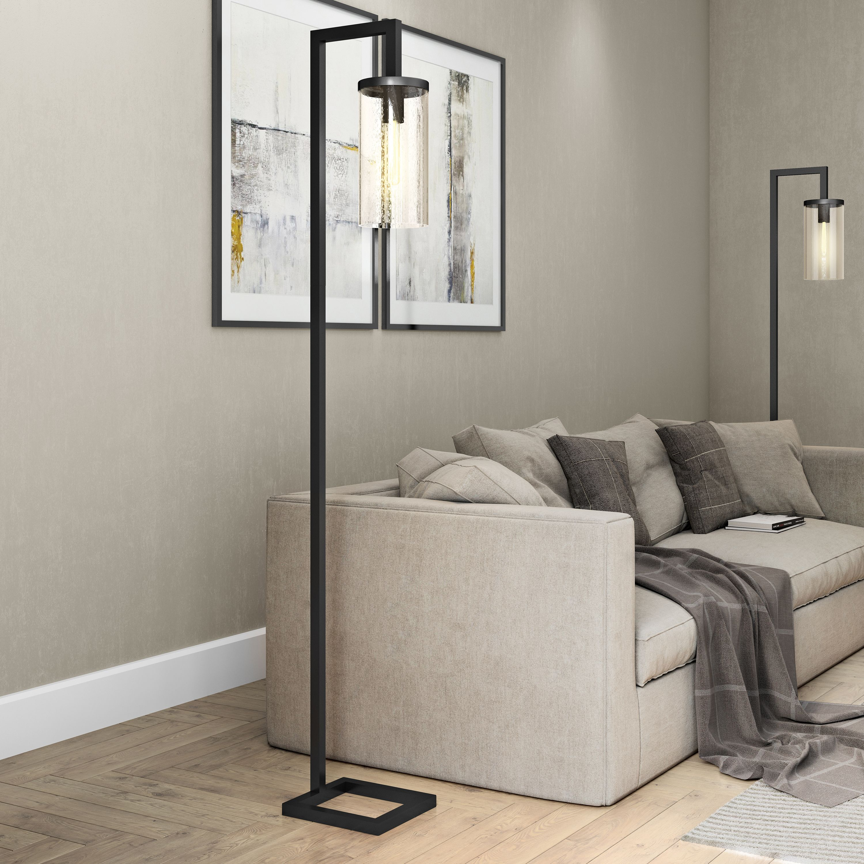 Malta Metal/Glass Industrial Reading Floor Lamp with Seeded Glass Shade in Blackened Bronze