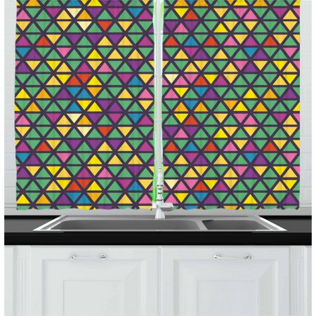 Colorful Curtains 2 Panels Set, Grid Mosaic Composition with Triangles Abstract Tile Design Retro Style Inspired, Window Drapes for Living Room Bedroom, 55W X 39L Inches, Multicolor, by Ambesonne ()