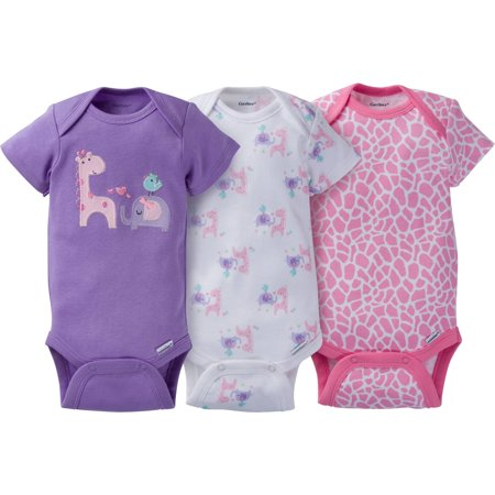 Gerber Newborn Baby Girl Assorted Short Sleeve Onesies Bodysuits  3 Pack