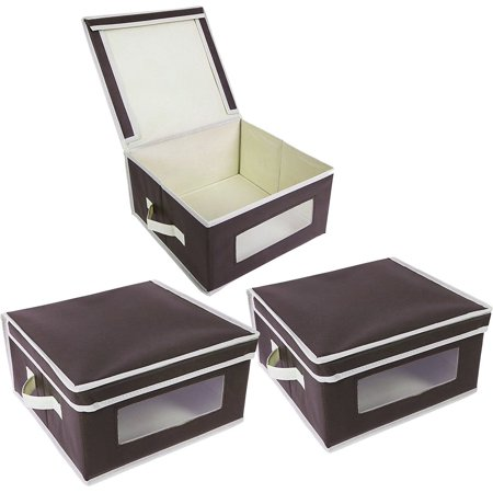 foldable fabric storage bins organization storage cube boxes with clear windows lids for. Black Bedroom Furniture Sets. Home Design Ideas
