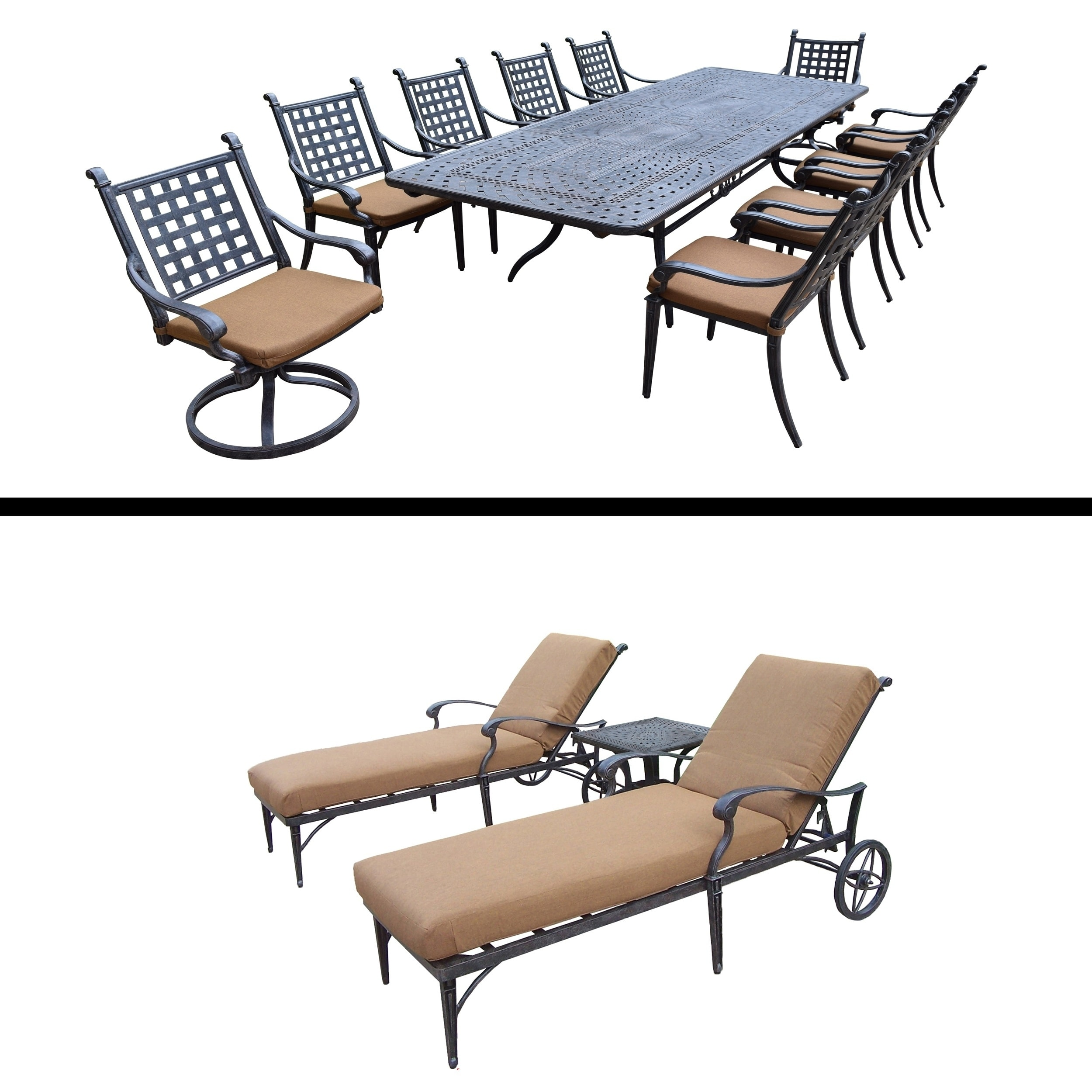 Oakland Living 11 Pc Dining Room Set with Extendable Table and 3 Pc Chaise Lounge Set by Overstock