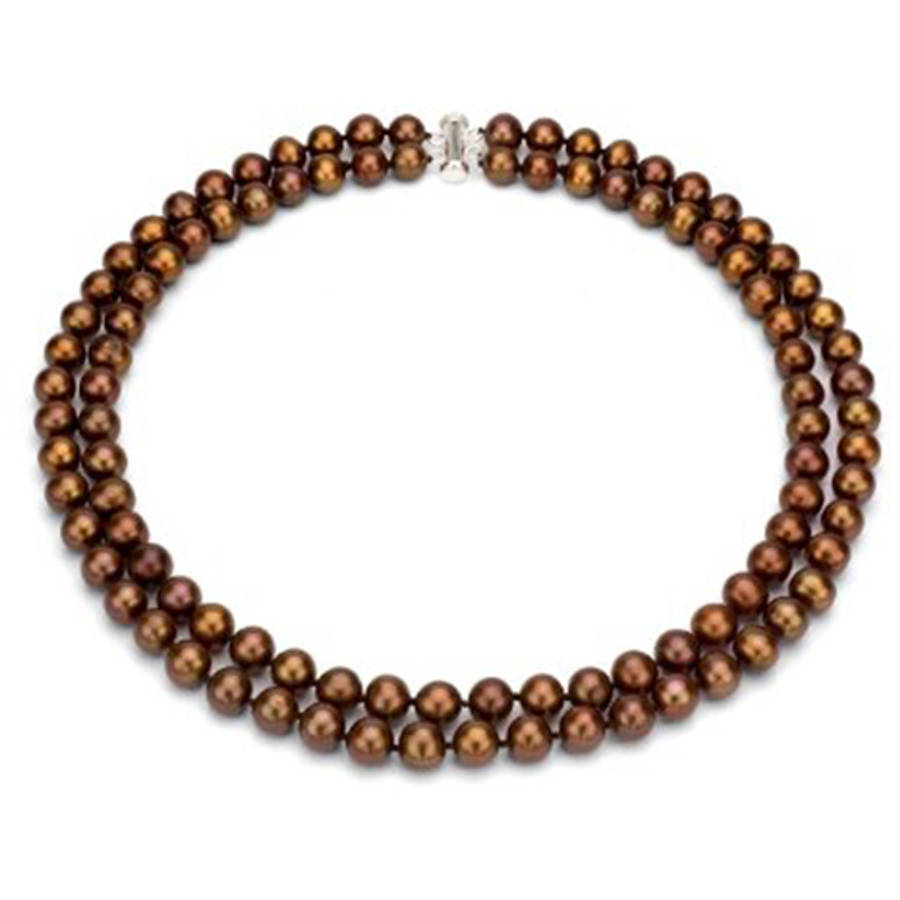 """Image of Chocolate Freshwater Pearl Necklace for Women, Sterling Silver 2 Row 17"""" & 18"""" 9mm x 10mm"""