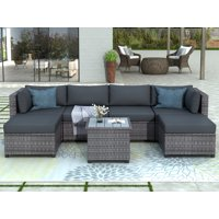 7 Piece Patio Furniture Set with 4 Rattan Wicker Chairs, 2 Ottoman, Coffee Table, All-Weather Outdoor Conversation Set with Gray Cushions for Backyard, Porch, Garden, Poolside, L5017