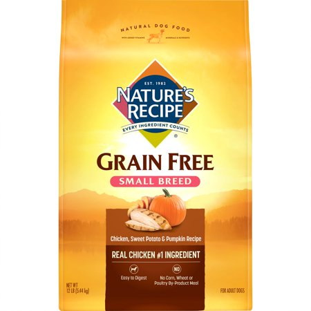 Nature's Recipe Small Breed Grain Free Easy to Digest Chicken, Sweet Potato & Pumpkin Recipe Dry Dog Food, 12-Pound