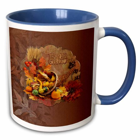 3dRose Cornucopia Basket Filled with Gourds, Berries, and Corn, Thanksgiving - Two Tone Blue Mug,