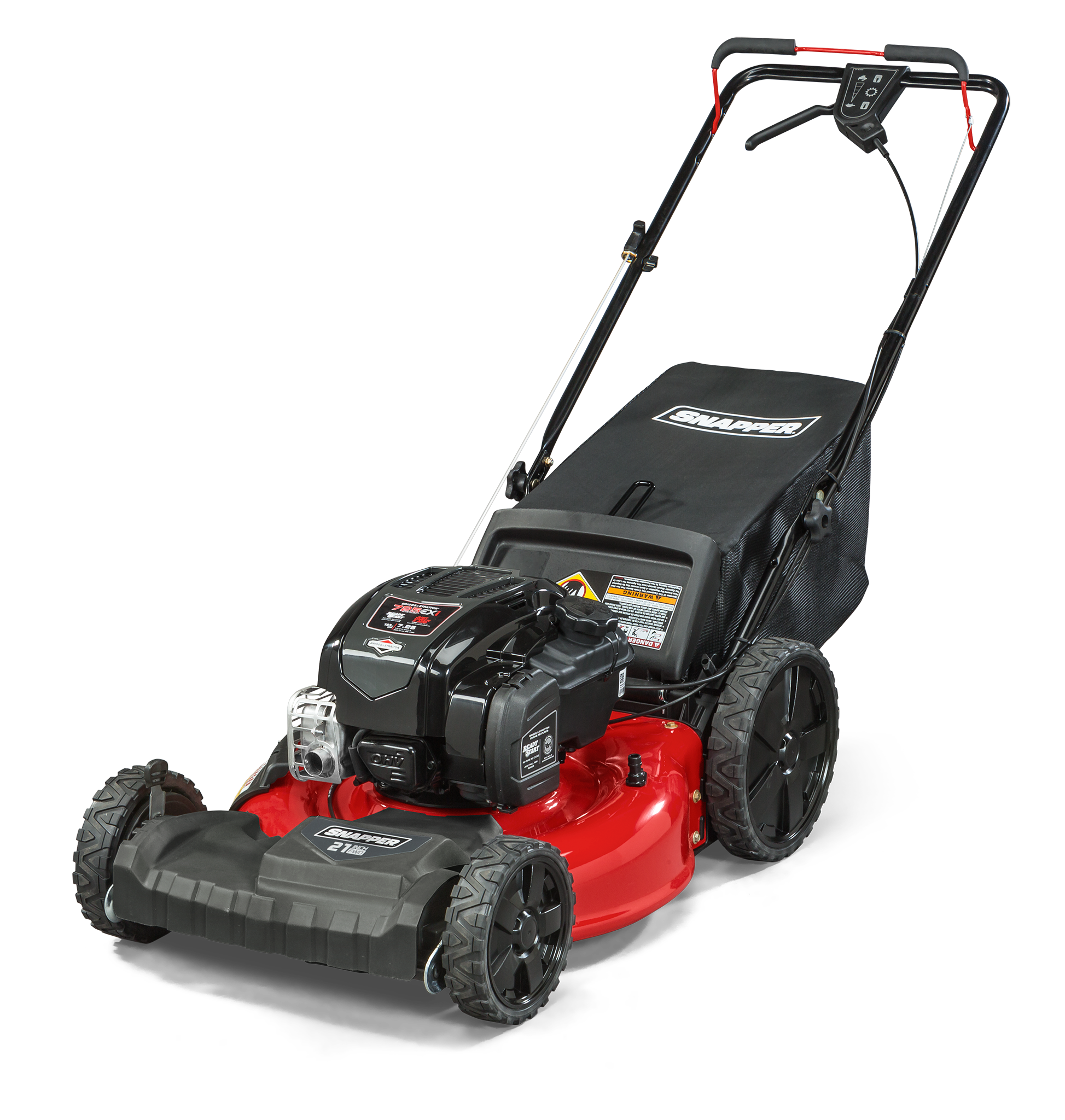 Snapper 21  Gas Front Wheel Drive Variable Speed Self Propelled Lawn Mower with Briggs and Stratton Engine, Side Discharge, Mulching, Rear Bag, Rear High Wheels