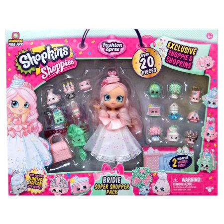 Limited Edition Bobble Head Doll (Shopkins Shoppies Limited Edition Bridie Super Shopper Pack Over 20-Pieces )