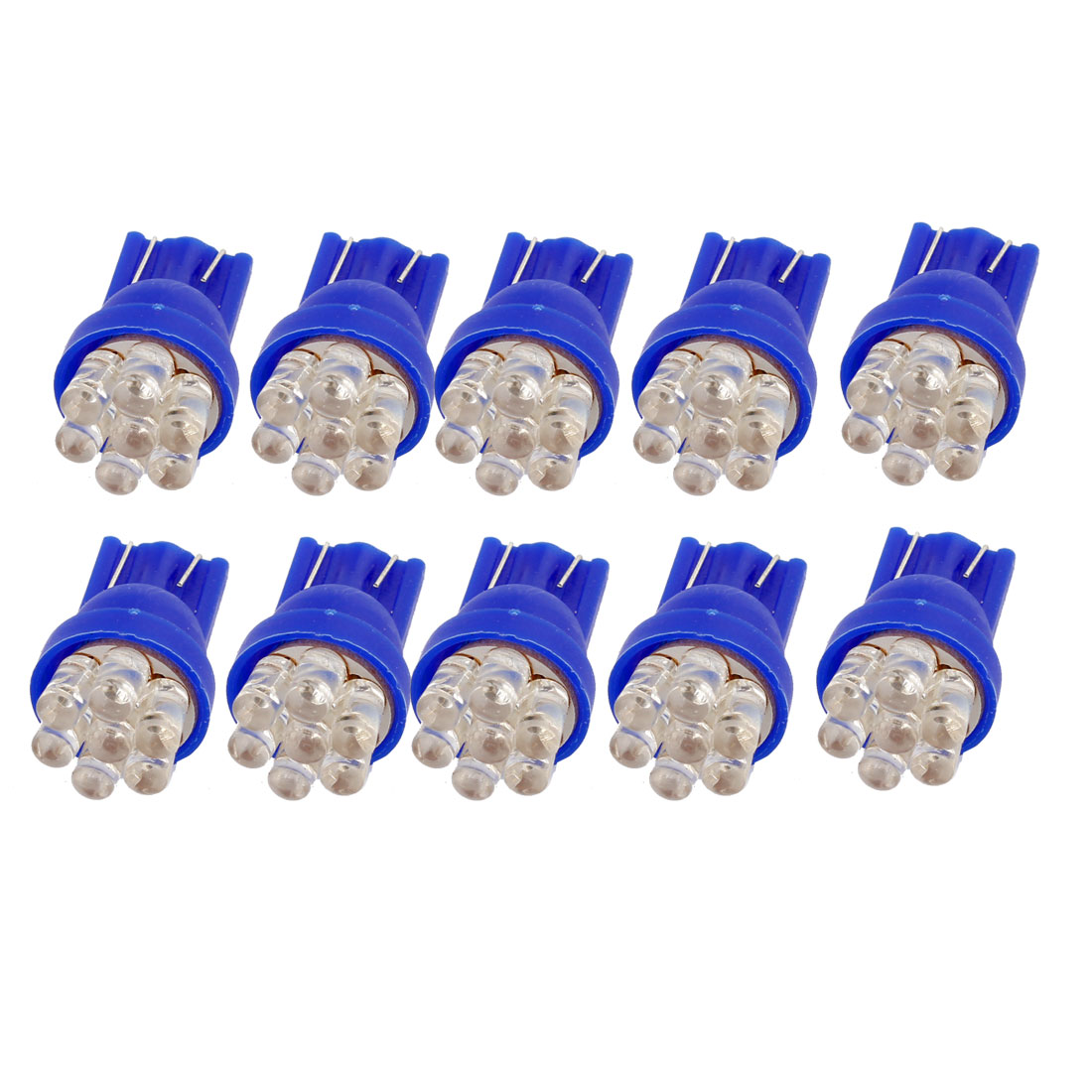 10 Pcs Blue 7-LED T10 194 921 W5W Side Wedge Light License Plate Lamp Bulbs