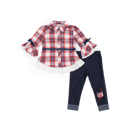 Little Lass Lace Belted Plaid Top and Knit Denim Leggings, 2pc Outfit Set (Baby Girls & Toddler Girls) ()