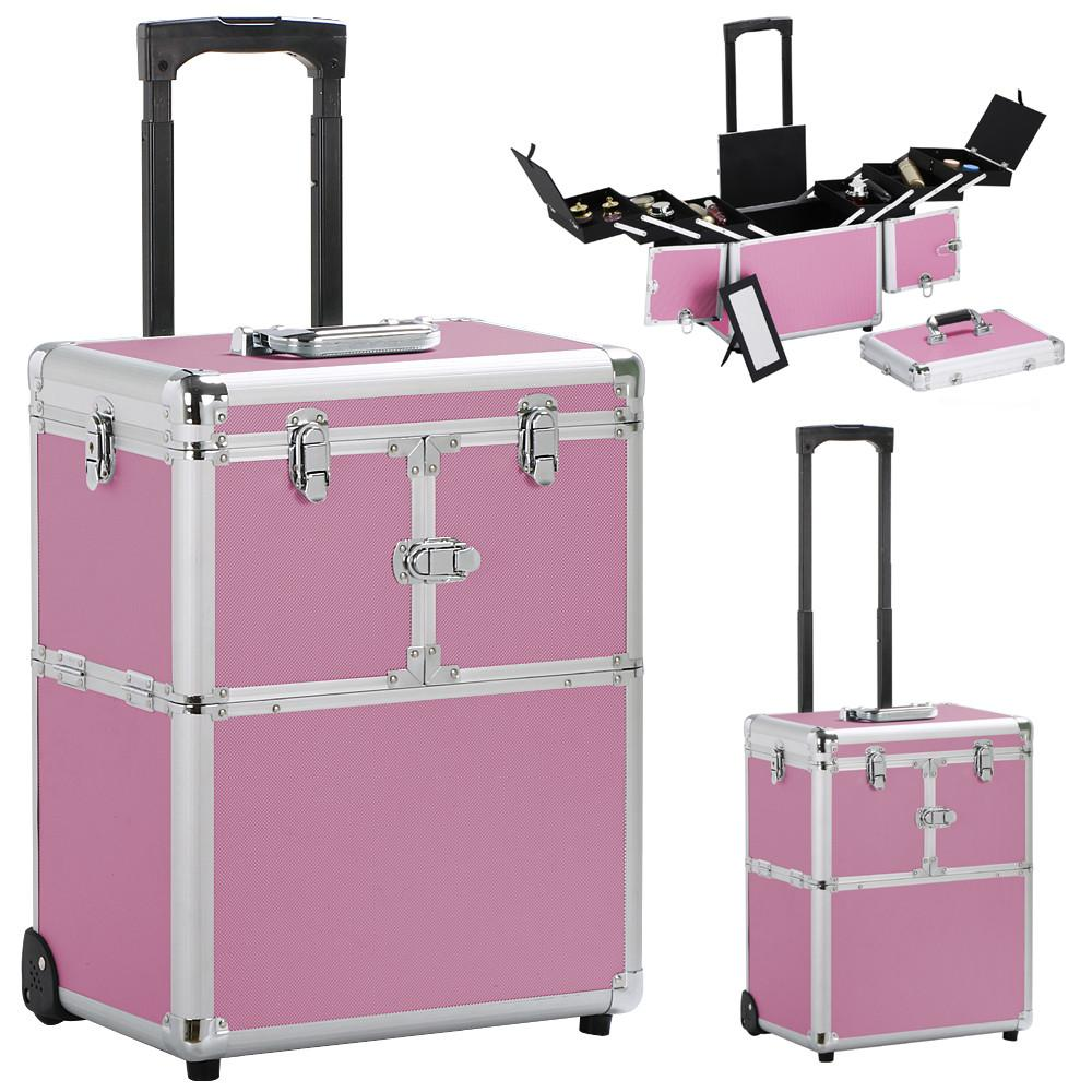 Topeakmart Pro Aluminum Rolling Cosmetic Makeup Train Cases 2-Wheel Trolley Organizer Box Professional Artist Train Case,Pink