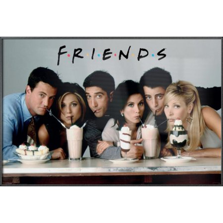 "Friends - Framed TV Show Poster / Print (Sharing Milkshakes) (Size: 36"" x 24"")"