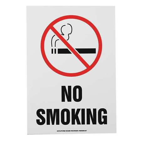 ACCUFORM SIGNS MSMK407VS No Smoking Sign, 10 x 7In, R and BK/WHT