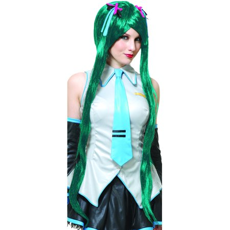 Womens Deluxe Teal Blue Anime Hatsune Miku Vocaloid Long Ponytail Wig - Teal Wig