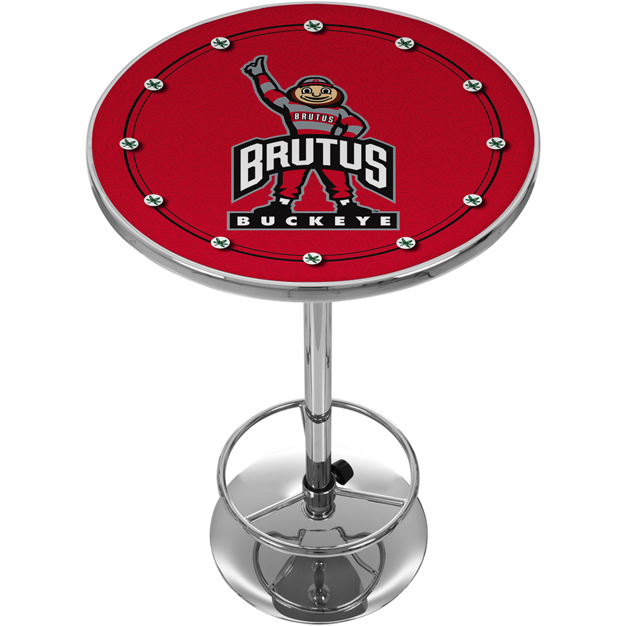 "Trademark NCAA The Ohio State University 42"" Pub Table, Brutus Logo/Chrome"