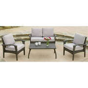 4-Pc Outdoor Wicker Seating Set in Gray