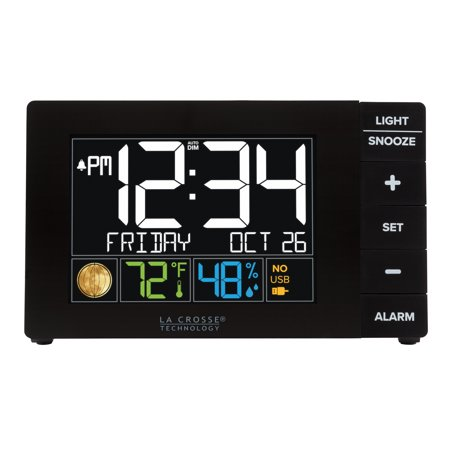 La Crosse Technology Color Alarm Clock with Temperature and USB Port ()