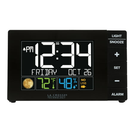 La Crosse Technology Color Alarm Clock with Temperature and USB