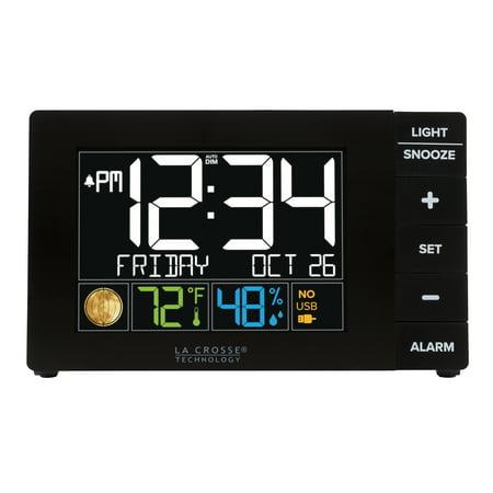 La Crosse Technology Color Alarm Clock with Temperature and USB Port (Black Old Fashion Alarm Clock)