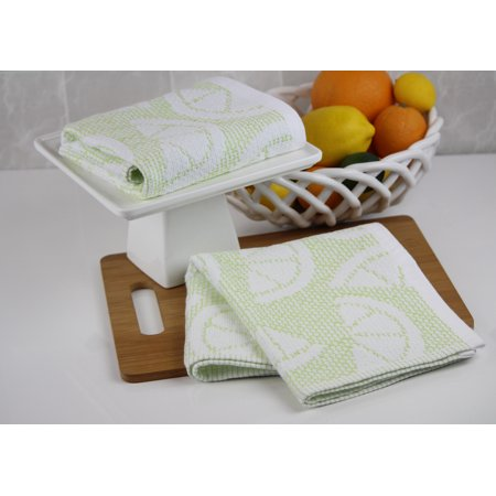 Freshee Kitchen Collection - 2-Piece Kitchen Towel Set with Intellifresh Technology, Green Sculpted Fruit Green Curry Dishes
