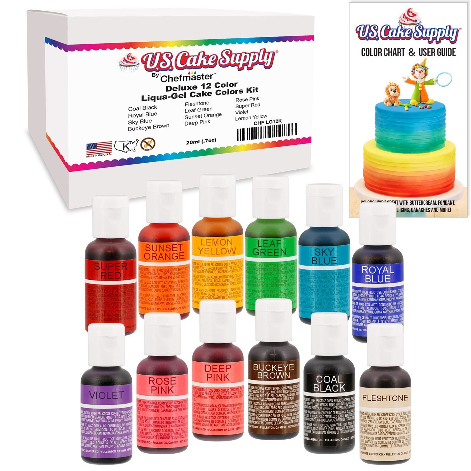 12 Food Color-US Cake Supply by Chefmaster Liqua-Gel Past...