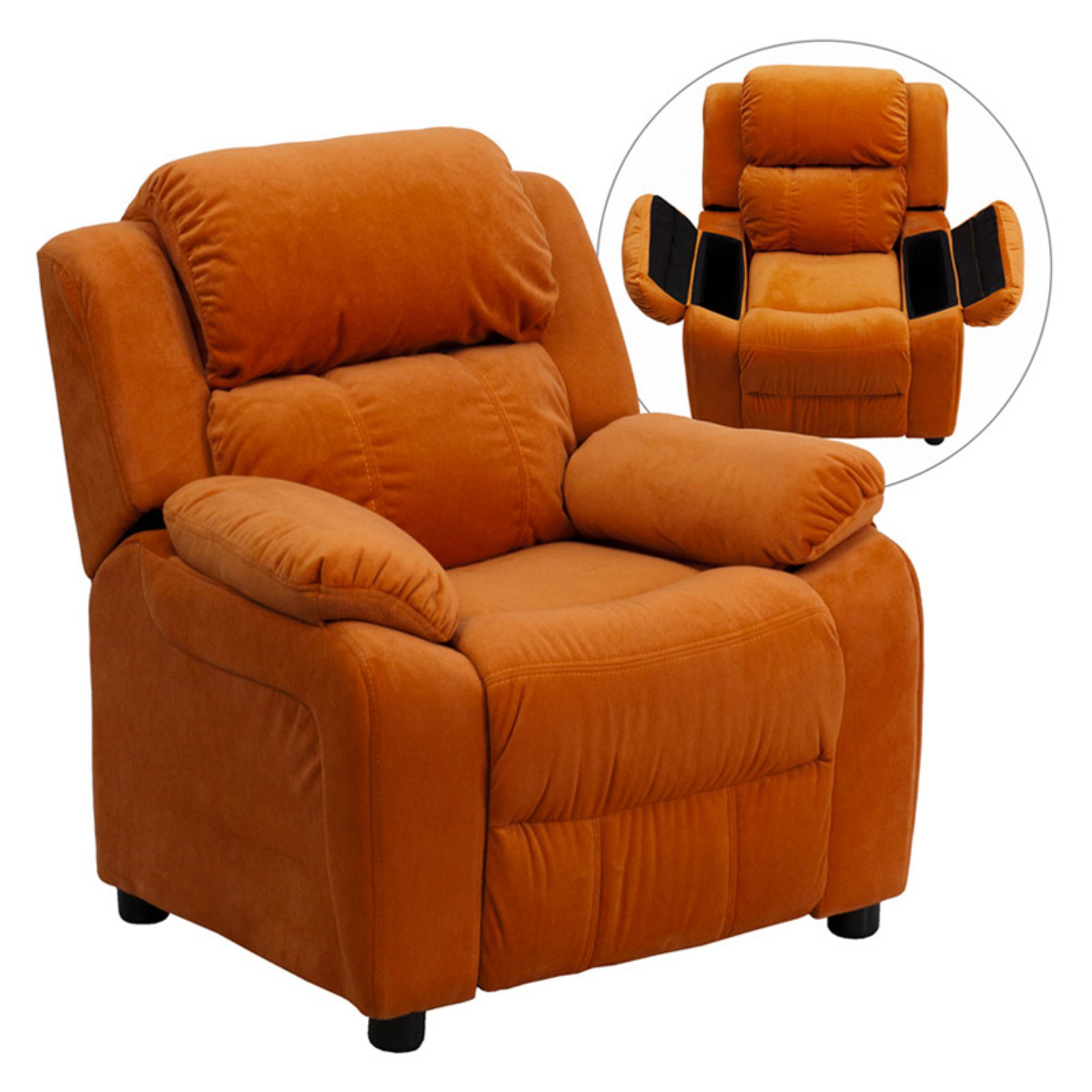 Flash Furniture Kids' Microfiber Recliner with Storage Arms, Multiple Colors