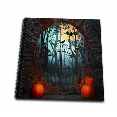 3dRose Scary Halloween Gate With Bats, Trees, and Pumpkins - Drawing Book, 8 by 8-inch