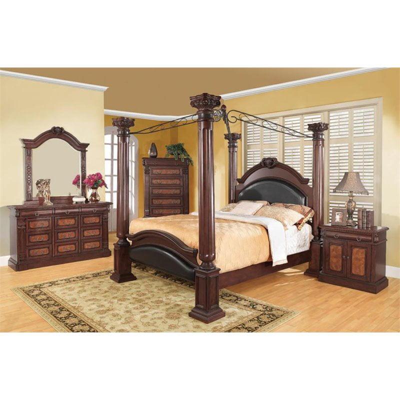 Coaster Grand Prado 4 Piece Queen Canopy Bedroom Set in Cappuccino by Coaster