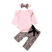 3PCS Infant Toddler Baby Girl Clothes Floral Ruffle Romper Long Sleeve Bodysuit Halen Pants Headband Outfits