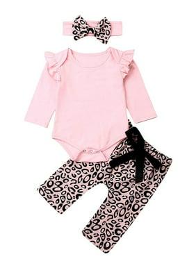 Headband Leopard Print with Flying Sleeves Lace Baby Girl Bodysuit Carolilly Newborn Baby Romper