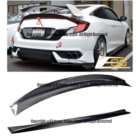 Honda Civic Hybrid Trunk - JDM CARBON FIBER Rear Trunk Light Center Add On Duckbill Lip Spoiler Wing For 16-Up Honda Civic 2Dr Coupe 2016 2017 2018 16 17 18
