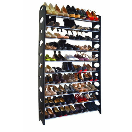Ktaxon 50 Pair 10 Tier Shoe Tower Rack Organizer Space Saving Shoe Rack Stainless Steel Black 10 Space Combo Rack Case