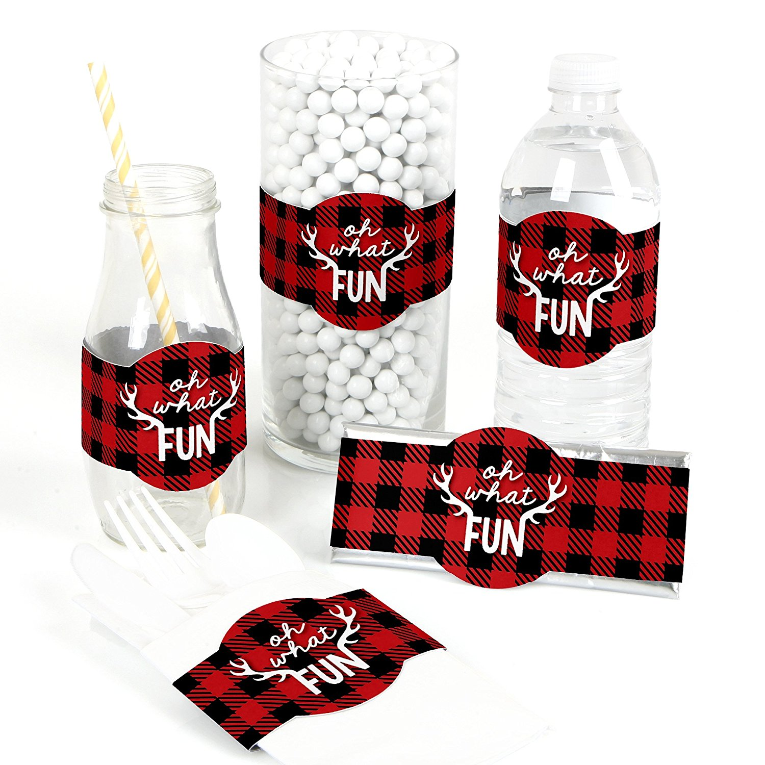 Prancing Plaid - DIY Party Supplies - Buffalo Plaid Holiday or Christmas Party DIY Wrapper Favors & Decorations - Set of 15