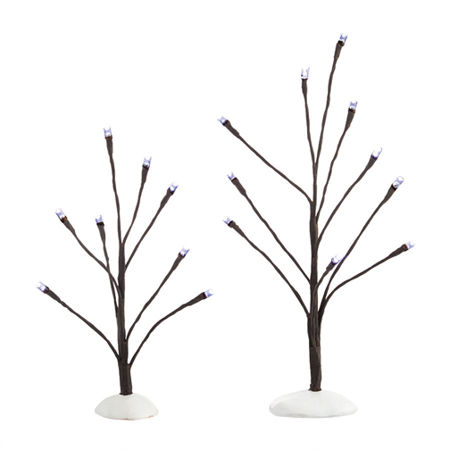 Department 56 Snow Village White Light Bare Branch Tree Set of 2 2014 ()