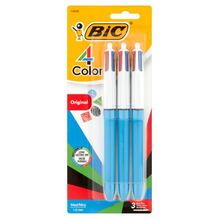 Bic 4 Color Ball Pen  Medium Point   1 0 Mm   Assorted Ink  3 Count