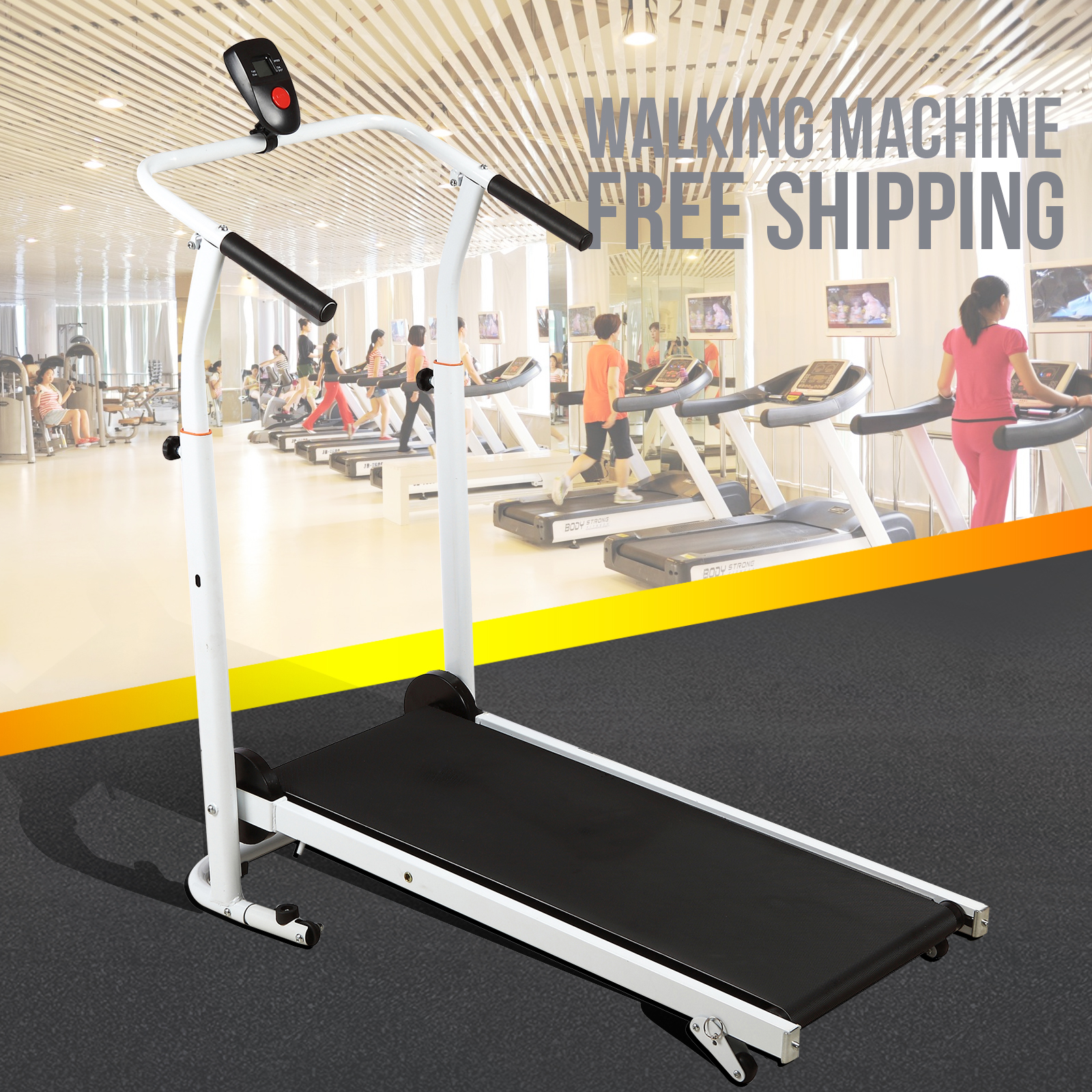 Uenjoy Folding Portable Incline Manual Treadmill Walking Running Fitness Gym