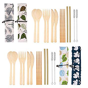 4 Set Bamboo Cutlery Set Bamboo Cutlery Flatware Set Include Fork Spoon Knife Chopsticks Straws Brush with Carrying Bag (Style...