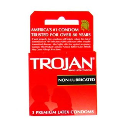 Condom Trojan® Non-Lubricated Standard 3 per Box