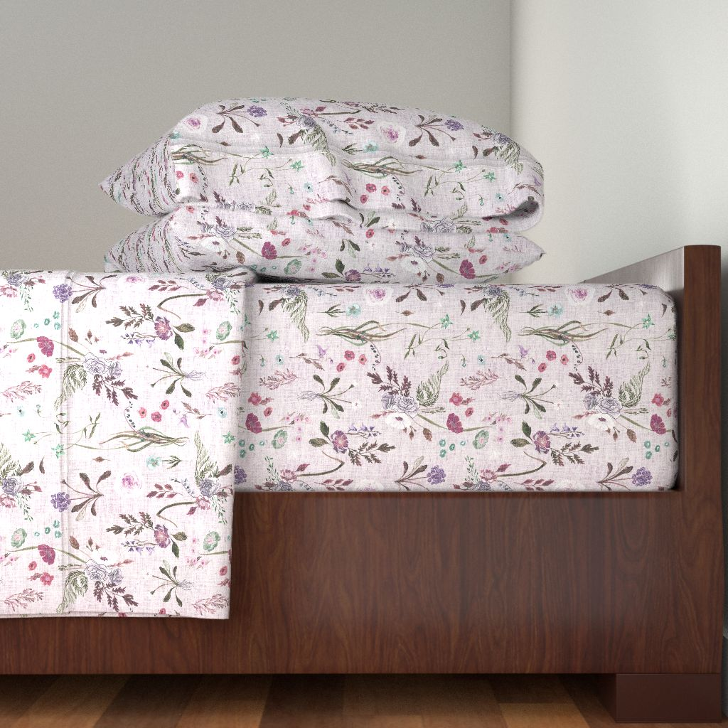 Floral Flowers Vintage Purple Violet 100% Cotton Sateen Sheet Set by Roostery