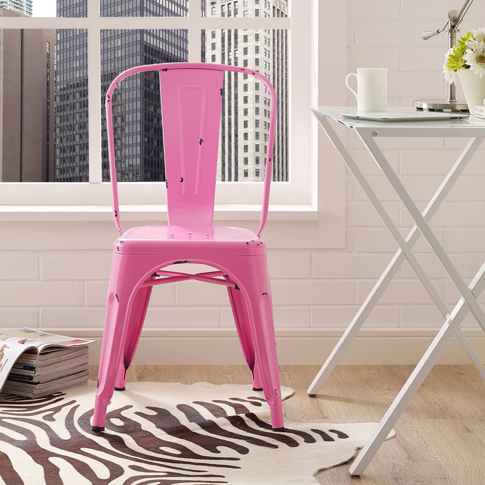 Metal café chair bubble gum pink walmart com