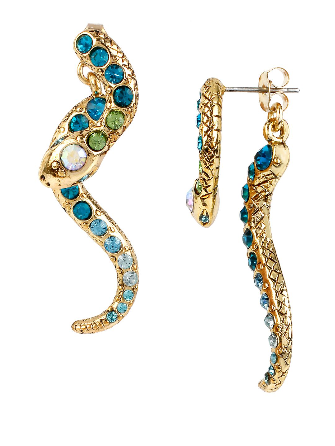 Ocean Drive Pave Crystal Snake Front and Back Linear Earrings