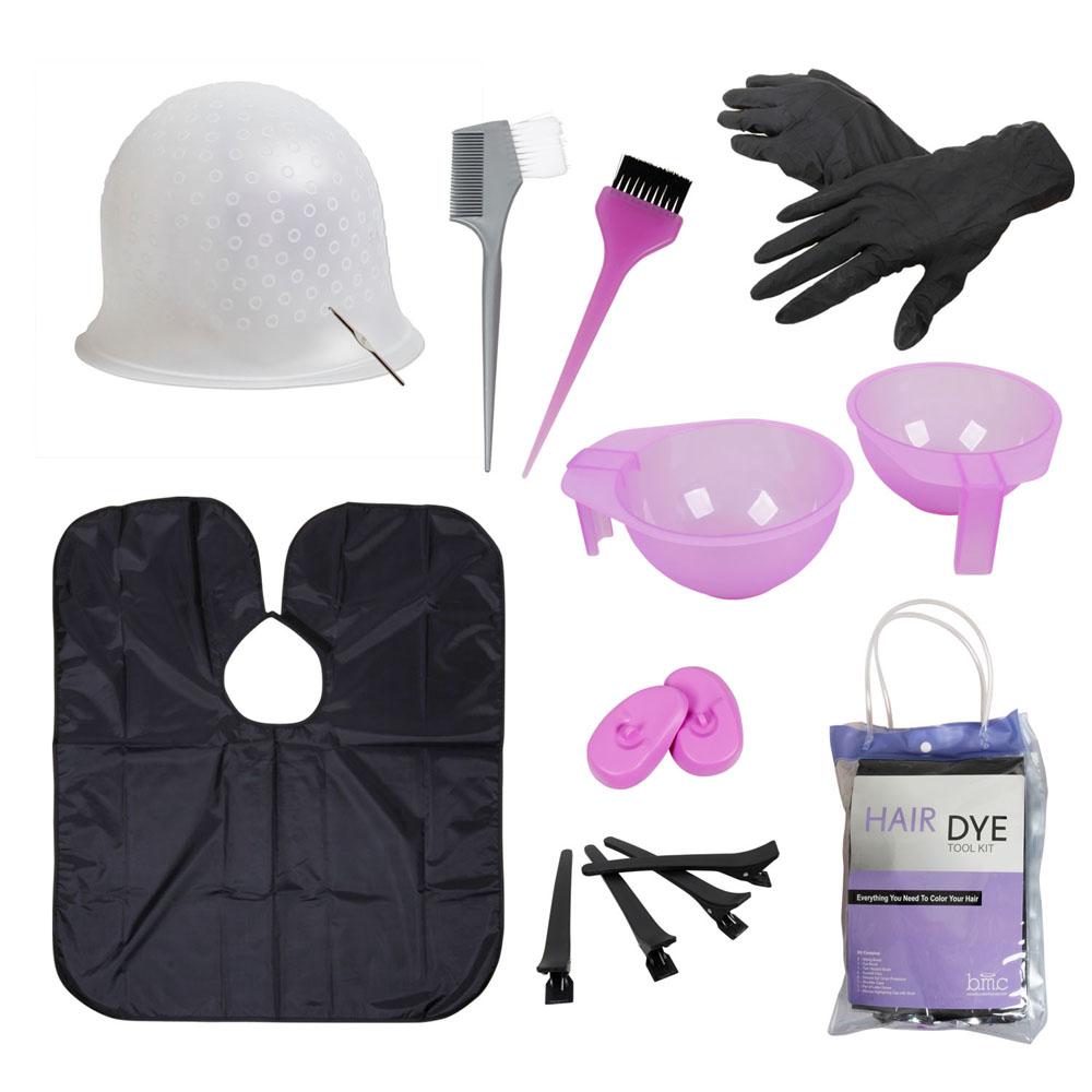 BMC Hair Dye Coloring Tool Kit-Highlighting Cap, Hook, Brush, Bowl, Clip, Cape